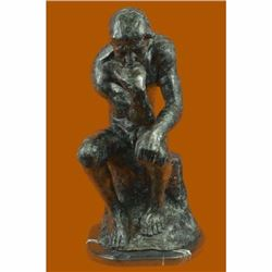 Thinker Man Bronze Sculpture on Marble Base Statue