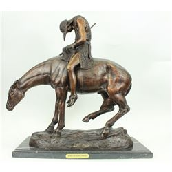 American Indian Man On Horse Bronze Sculpture on Marble base Statue