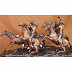 West Western Indian Horse Bronze Sculpture