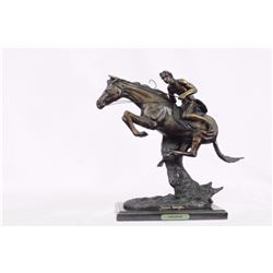 Cheyenne Bronze Sculpture on Marble Base Statue