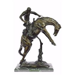Bronco Twister Bronze Sculpture on marble base Figure