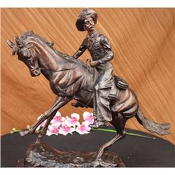 Signed Frederick Remington Solid Bronze Vintage Art deco Sculpture Large