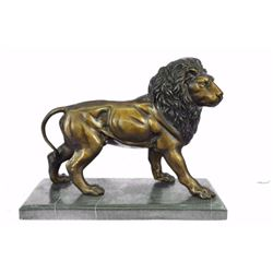 King Of Jungle Lion Bronze Sculpture on marble base