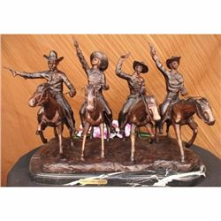 Four Cowboys With Gun Old West Bronze Sculpture