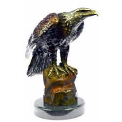 Bald Eagle Bronze Sculpture on Marble Base Statue
