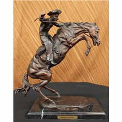 Bronco Buster On Marble Base Bronze Sculpture