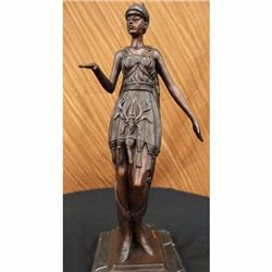 Warrior Woman Knight Bronze Statue on Marble Base Sculpture
