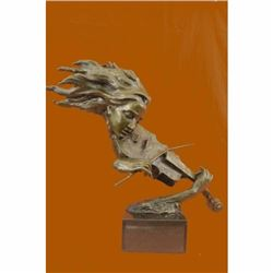 Violin Player Bronze Figurine on Marble Base Sculpture