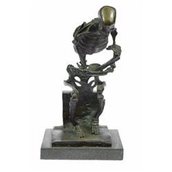 Skull Skeleton thinker Bronze Sculpture