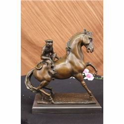 "15"" French Bronze Eximous Monkey Sit Horse Statue"