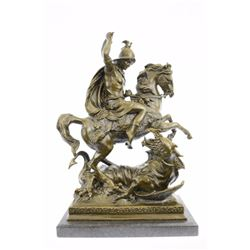 "21"" Tall Catholic St George Dragon Slayer Patron Military Saint Bronze Statue"