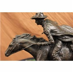 Country Western Cowboy Horse Ranch Bronze Sculpture
