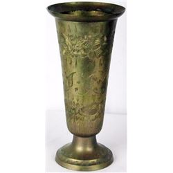 Original Patina Vintage Solid Brass Vase