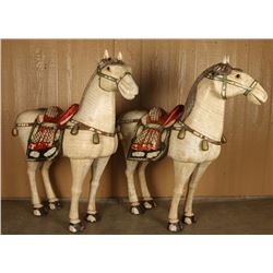 Pair of Bone Inlaid Chinese Horses