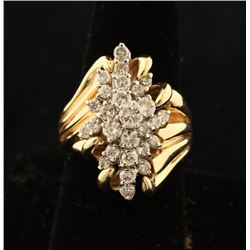 Ladies Large Diamond Cluster Ring