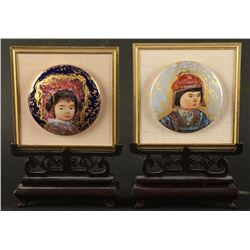 Collection of 2 Asian Porcelain Portraits