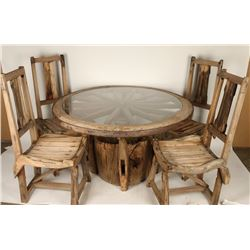 Rustic Wagon Wheel Dining Table
