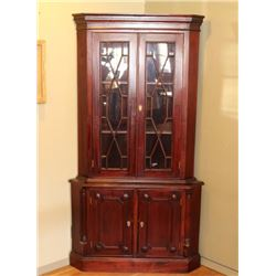 Flame Mahogany Corner China Cabinet