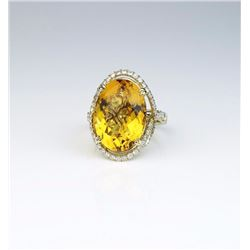Spectacular Checkerboard Cut Citrine Ring