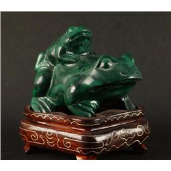 Malachite Frogs Carving