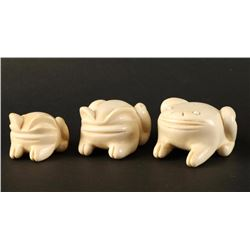 3 Chinese Pre Ban Ivory Frogs