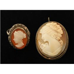 Lovely Cameo Brooch & Ring