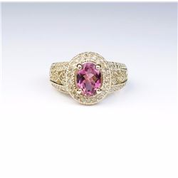 Colorful Ring Featuring a Pink Tourmaline