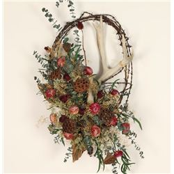 Barbed Wire & Horn Wreath