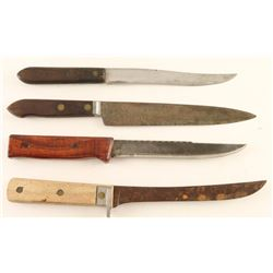 Lot of 4 Rustic Skinning Knives