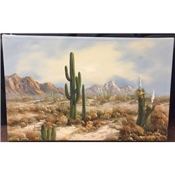 Original Oil Painting of a Desert Scene