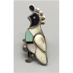 Vintage Zuni Inlay Quail Ring