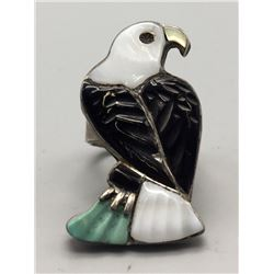 Zuni Inlay Eagle Ring