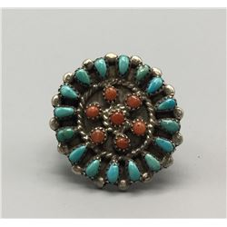 Zuni Turquoise And Coral Ring