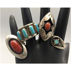 Group of 4 Vintage Navajo Rings
