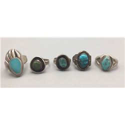 Group Of 5 Vintage Navajo Rings