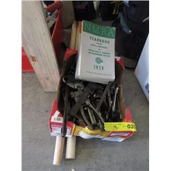 Box of Hand Tools, 2 Axe Handles & More