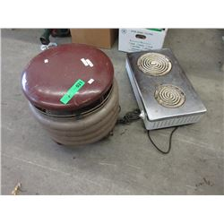 1960's Fan Heater & 2 Burner Stove