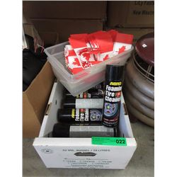 7 Foam Tire Cleaner & Box of Small Canadian Flags