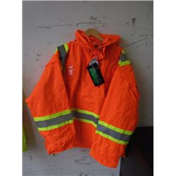 2XL Waterproof Hooded Orange Safety Jacket