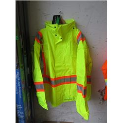 3XL Waterproof Hooded Lime Safety Jacket