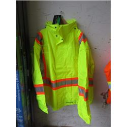 5XL Waterproof Hooded Safety Jacket - Lime