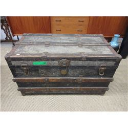 Flat Top Slat Trunk ca1910 with contents