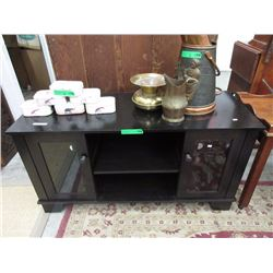 Entertainment Stand with Glass Doors in Base