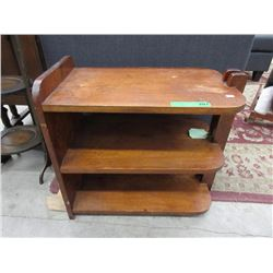 Vintage Wood End Table with Shelves