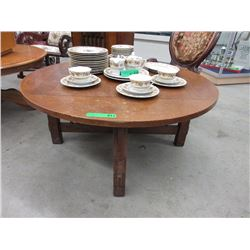 Mission Style Round Oak Coffee Table