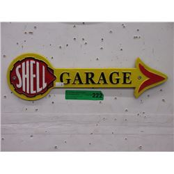 Hand Painted Cast Metal Shell Garage Sign