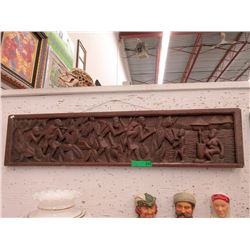 "Heavily Carved Plaque ""Tribe Back From Hunt"""