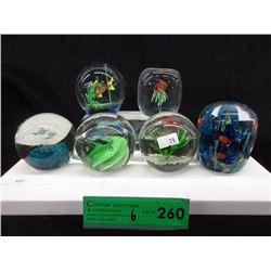 6 Art Glass Paperweights with Fish Motif