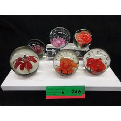 6 Art Glass Paperweight with Floral Theme