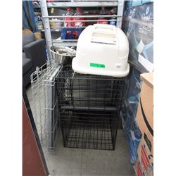 2 Pet Crates, Covered Litter Box & More